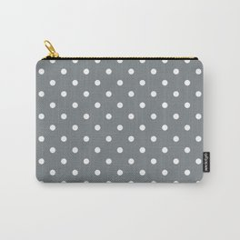 Smoke Grey with White Polka Dots Carry-All Pouch