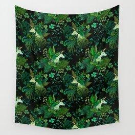 Irish Unicorn in a Garden of Green Wall Tapestry