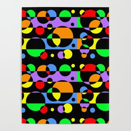 Rainbow Geometric Multicolored Modern Circle Pattern Poster