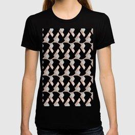 Weave me alone // pink, black + polka dot knit camo pattern T-shirt