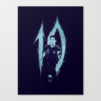 messi Canvas Prints featuring Messi by Andres Moncayo