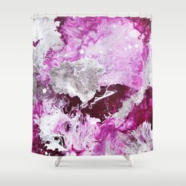Fuchsia Pink and Silver Abstract Shower Curtain