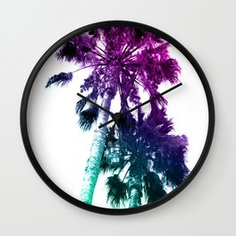 Retro Vintage Ombre Pop Art Los Angeles, Southern California Palm Tree Colored Print Wall Clock