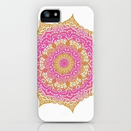 Summery pink and gold mandala design iPhone Case