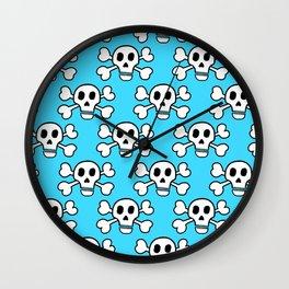 Skulls in Blue Wall Clock
