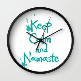 Keep Calm and Namaste Wall Clock