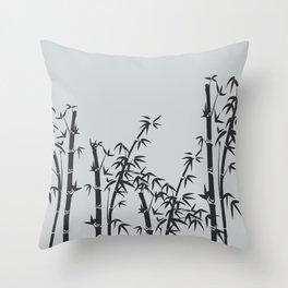 Bamboo black - grey Throw Pillow