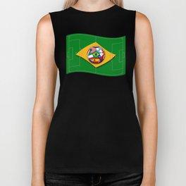 football field looks like Brazil flag with ball Biker Tank