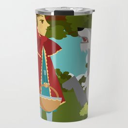 little red hood and big bad wolf in the forest tale Travel Mug