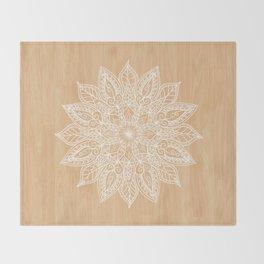 Leaf mandala - wood Throw Blanket