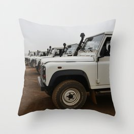 Classic Landrover Defender 3   classic cars photography   white oldtimers Throw Pillow