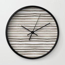 Simply Shibori Stripes Earth Brown on Lunar Gray Wall Clock