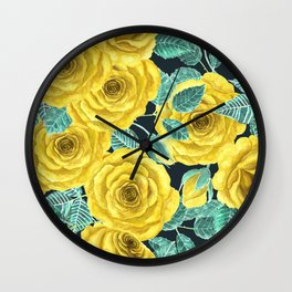 Yellow watercolor roses with leaves and buds pattern Wall Clock