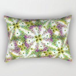 Neo Noveau Style Floral Pattern in Cold Tones Rectangular Pillow