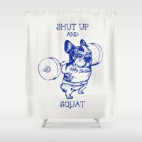 frenchie Shower Curtains featuring Frenchie Squat by Huebucket