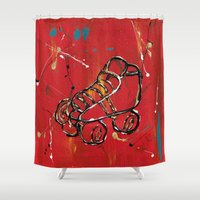 skate Shower Curtains featuring Skate by Robin Lee Artist