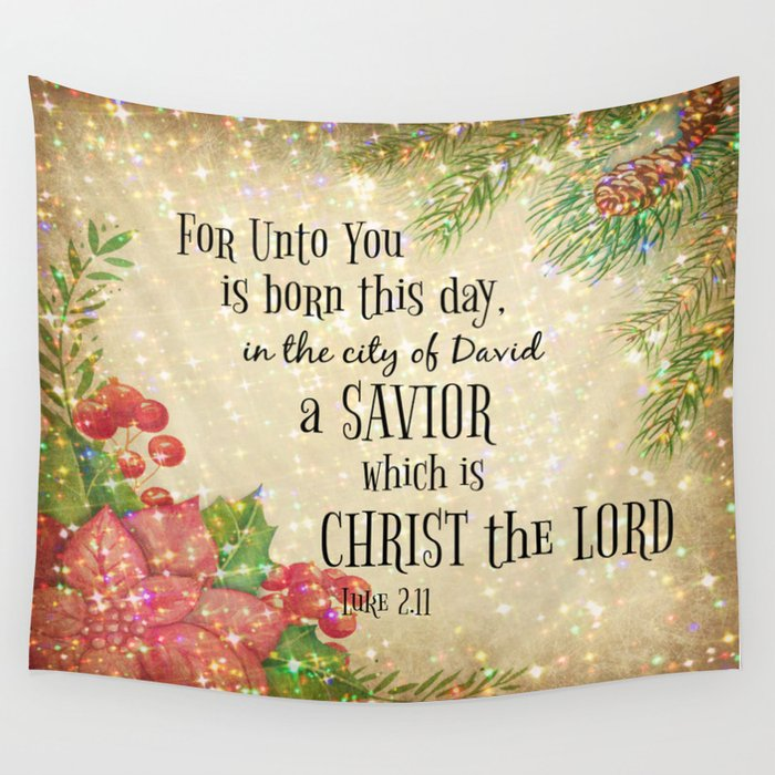 Christmas Bible Verse.Christmas Bible Verse Typography Wall Tapestry By Quotelifeshop