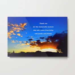"""Sunset Clouds #117"""" with poem: Memorable Moments Metal Print"