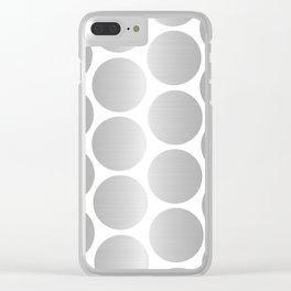 Silver Metallic Circles Dots Clear iPhone Case