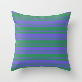 Sea Green & Slate Blue Colored Lined Pattern Throw Pillow