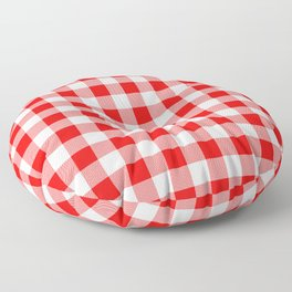 Jumbo Valentine Red Heart Rich Red and White Buffalo Check Plaid Floor Pillow