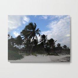 Tulum (wind-blown palm trees) Metal Print