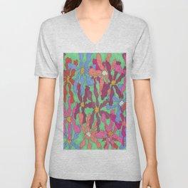 Colorful Retro Floral Print Unisex V-Neck