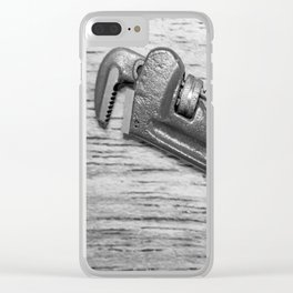 Pipe Wrench - BW Clear iPhone Case