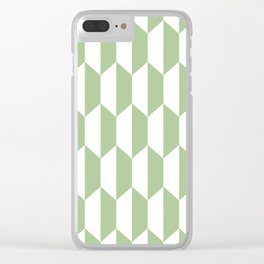 Classic Trapezoid Pattern 233 Sage Green Clear iPhone Case