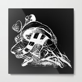 Rugby Tackle White PPereyra Metal Print