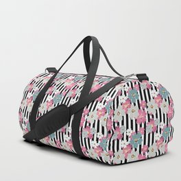 The floral pattern on striped background. Duffle Bag