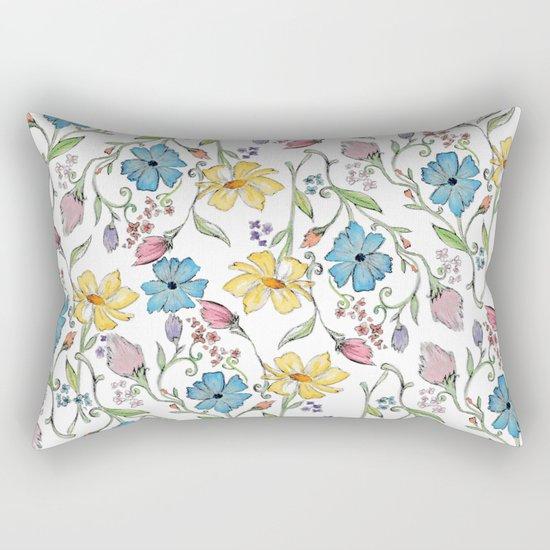 Spring flowers pattern - watercolor Rectangular Pillow