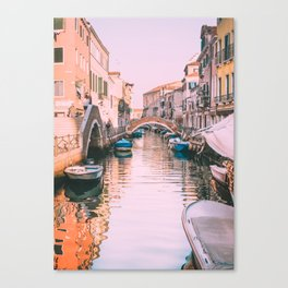 Pink Canal in Venice Fine Art Print Canvas Print