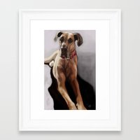 great dane Framed Art Prints featuring Great Dane by Elyse Allen