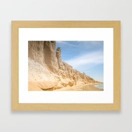 Vlichada beach in Santorini , Greece and blue sky Framed Art Print