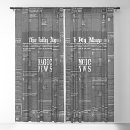 The Daily Mage Fantasy Newspaper II Sheer Curtain