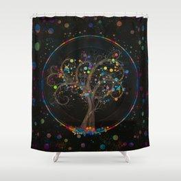 Golden Spiral Tree Color Paint Splatter #1 Shower Curtain
