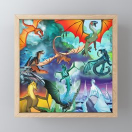 Wings of fire all dragon bg Framed Mini Art Print