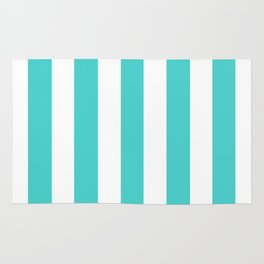 Medium turquoise - solid color - white vertical lines pattern Rug