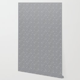Bees and flowers pattern grey Wallpaper