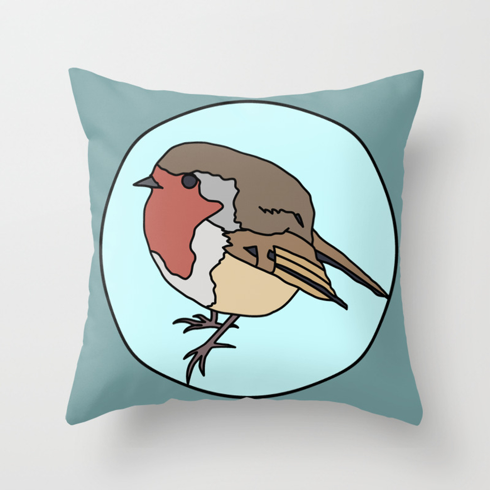 Robin - Robin Redbreast Throw Pillow by Mothpathtags (PLW8909815) photo