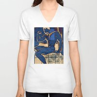muscle V-neck T-shirts featuring Muscle. by Azure Cricket