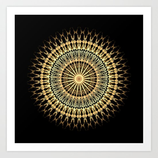 Black Gold Mandala Art Print