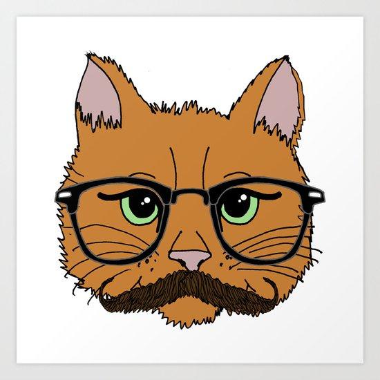 Mustache Cat Art Print