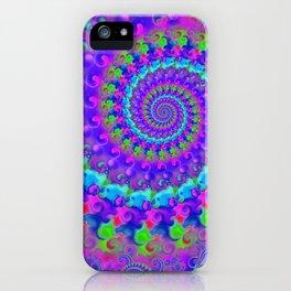 Funky Blue Fractal Pattern iPhone Case