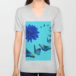 BLUE DAHLIA FLOWER & BLUE BUTTERFLIES ALLURE Unisex V-Neck