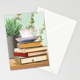 Tea and book love Stationery Cards