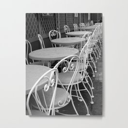 Cafe Tables and Chairs - black and white Metal Print