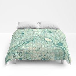 St Paul Map Blue Vintage Comforters