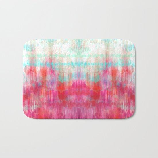 Color Song - abstract in pink, coral, mint, aqua Bath Mat